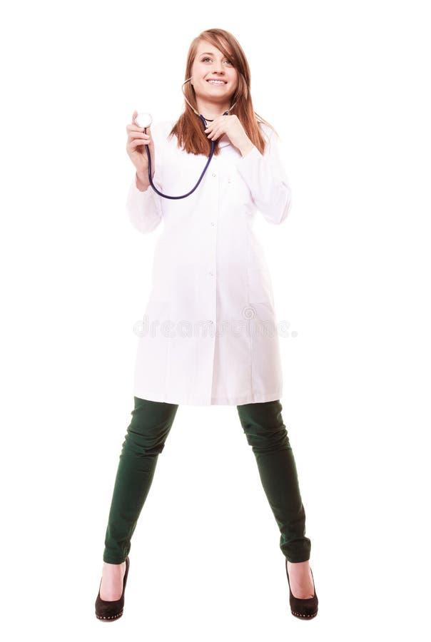 medizinisch Ärztin im Laborkittel mit Stethoskop lizenzfreies stockfoto