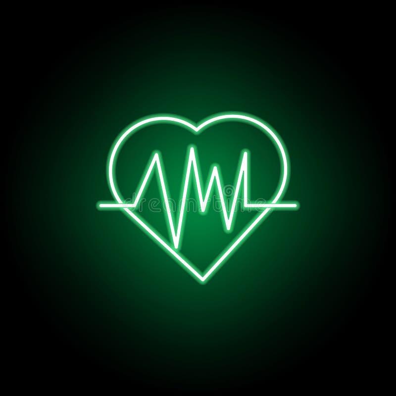 Medizinisch, Kardiogrammikone in der Neonart Element der Medizinillustration Zeichen und Symbolikone k?nnen f?r Netz, Logo, Mobil lizenzfreie abbildung