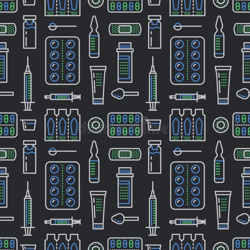 Medizinisch, nahtloses Muster des Drugstores, Medikamentvektor-Dunkelheitshintergrund Dosierungsformen verdünnen Linie Ikonen - T vektor abbildung