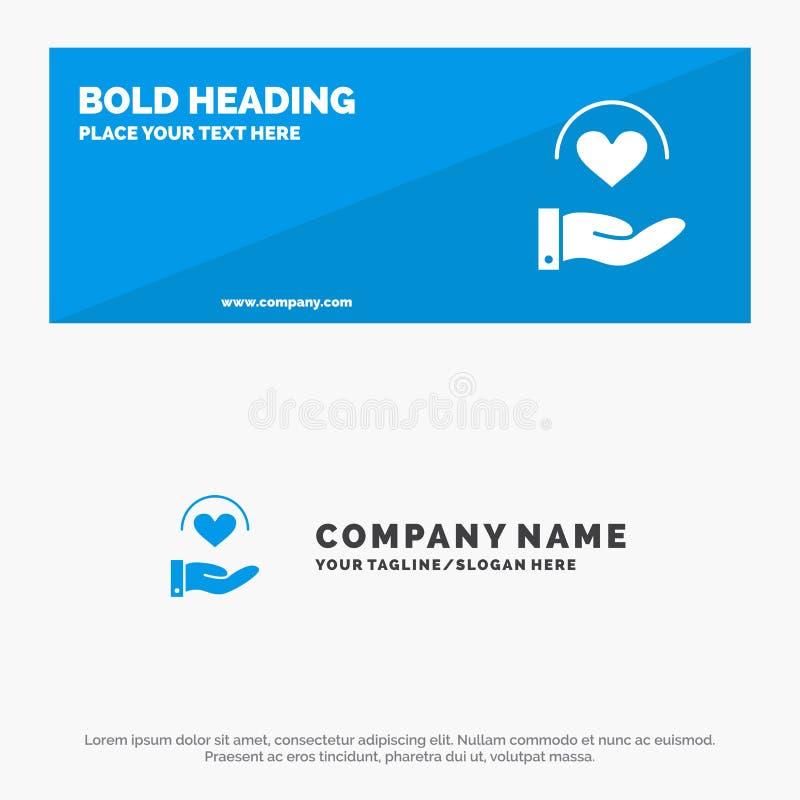 Medizinisch, Sorgfalt, Herz, Handfeste Ikonen-Website-Fahne und Geschäft Logo Template lizenzfreie abbildung