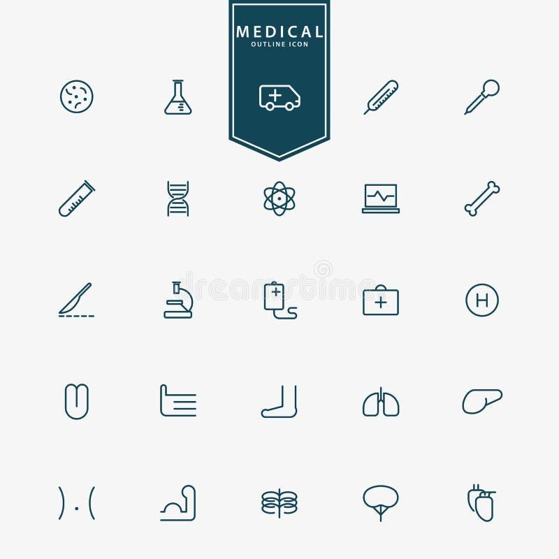 25 medizinisch und minimale Entwurfsikonen des Krankenhauses lizenzfreie abbildung