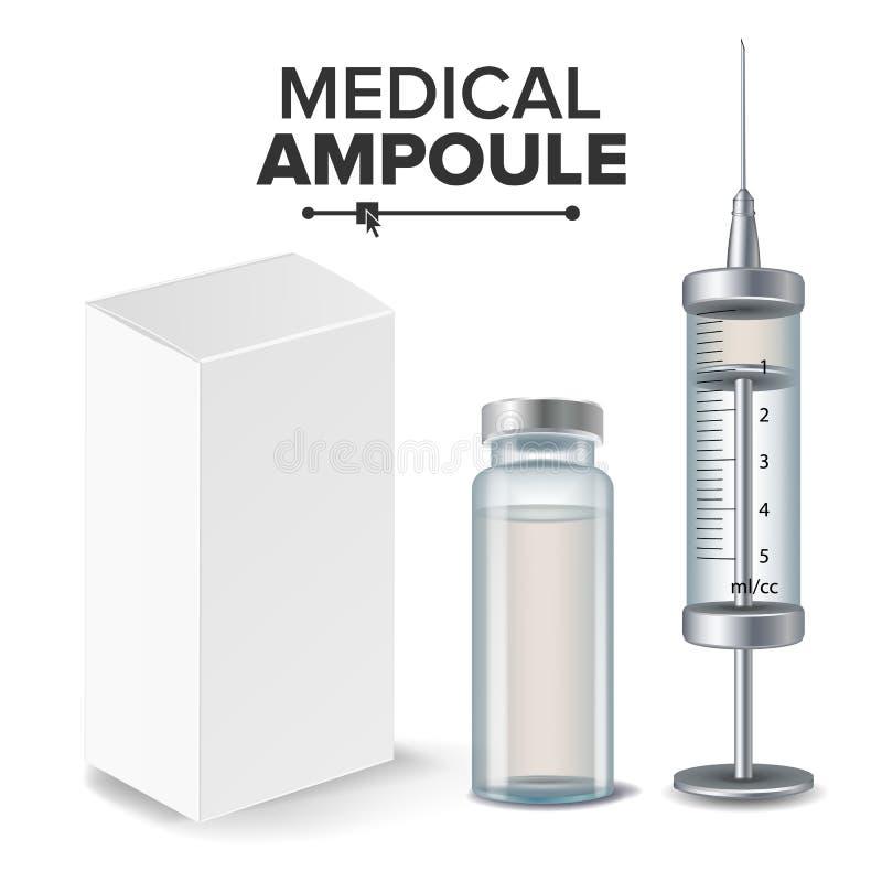 Medizinische Ampulle, weißer Paket-Kasten, Spritzen-Vektor Realistische lokalisierte Illustration stock abbildung