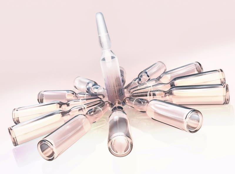 Medizinische Ampullen lokalisiert Hände und Spritze vektor abbildung