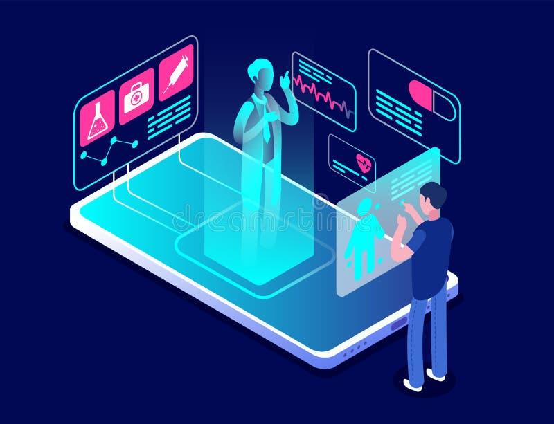 Medizinische APP Diagnose- und Beratungsanwendung auf Smartphone Gesundheitswesentechnologie, Sorgfaltassistent, Fernmedizin stock abbildung