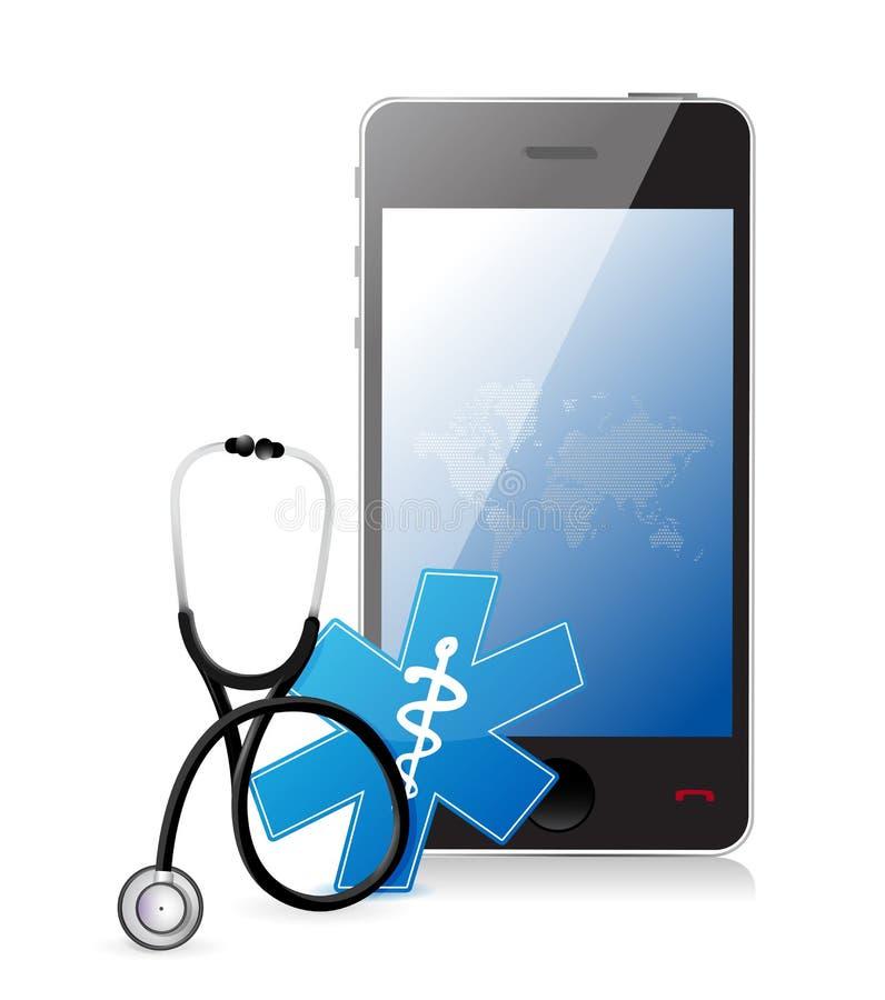 Medizinische APP Smartphones mit einem Stethoskop lizenzfreie abbildung