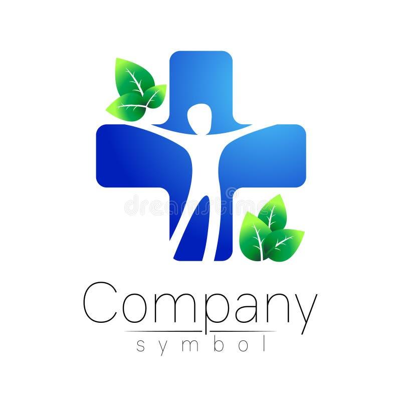 Medizinische blaue Kreuz- und Grünblätter - vector Logoschablonen-Konzeptillustration Medizinzeichen Gesundes Symbol lizenzfreie abbildung
