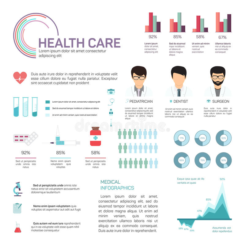 Medizinische Daten Infographics, der Gesundheit und des Gesundheitswesens vektor abbildung