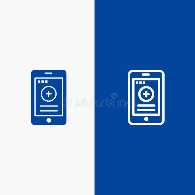 Medizinische, der Zell-, des Telefons, der Krankenhaus-Linie und des Glyphfesten Ikone der blauen Fahne Ikone Linie und Glyph fes lizenzfreie abbildung
