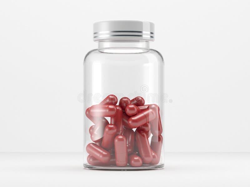 Medizinische Dose für Pillen Abbildung 3D lizenzfreie abbildung