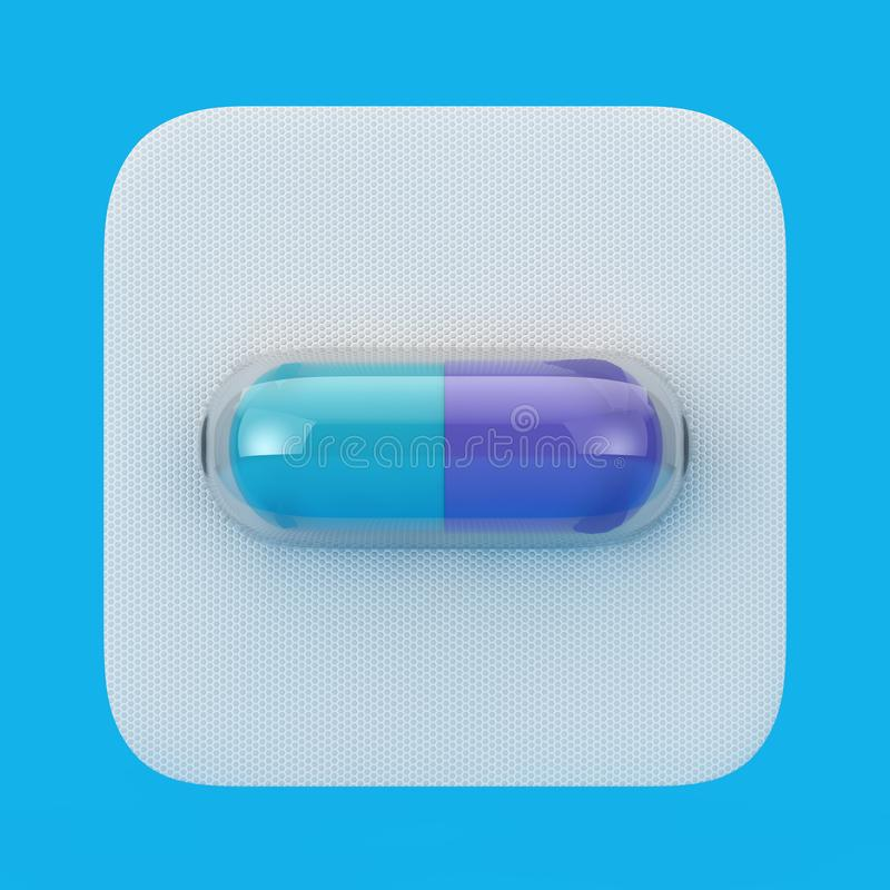 Medizinische Drogen-Kapsel-Pille in der Blase Wiedergabe 3d stock abbildung