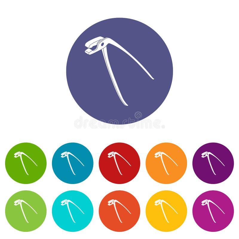 Medizinische eingestellte Vektorfarbe der Zangen Ikonen stock abbildung
