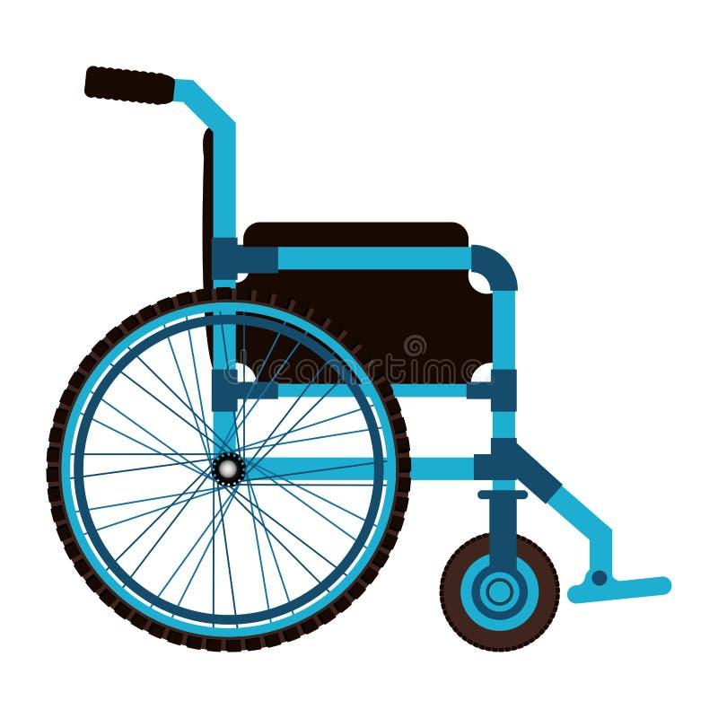 medizinische Elementikone des blauen Rollstuhldesigns lizenzfreie abbildung