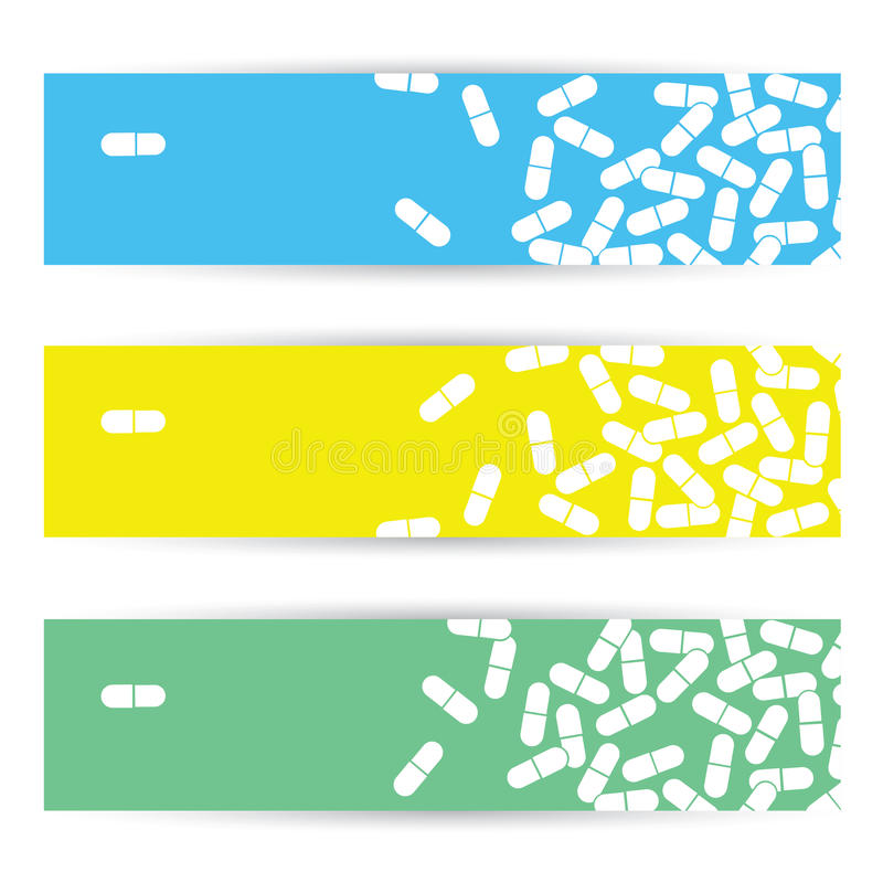 Medizinische Fahnen mit Pillen lizenzfreie abbildung