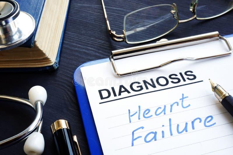 Medizinische Form mit Diagnosenherzversagen stockbilder