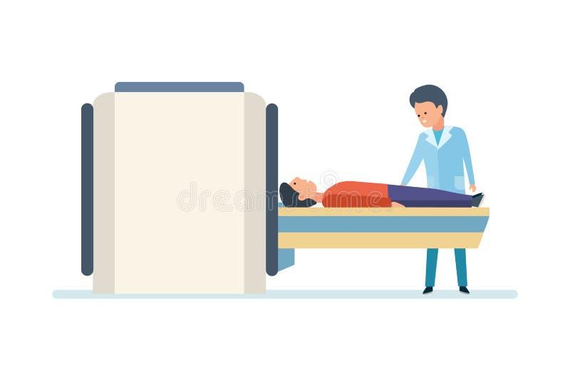 Medizinische Forschung Scan Doktor-Preparing Patient For MRI im Krankenhaus lizenzfreie abbildung