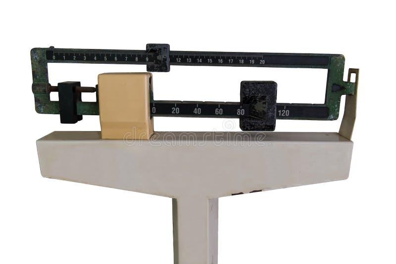 Medizinische Gewichts-Skala lokalisiert auf Weiß stockfotografie