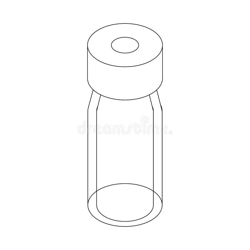 Medizinische Glasflaschenikone, isometrische Art 3d lizenzfreie abbildung