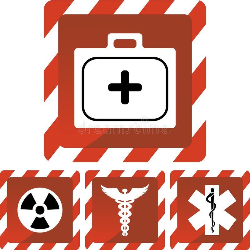 Medizinische Großalarm-Ikonen lizenzfreie abbildung