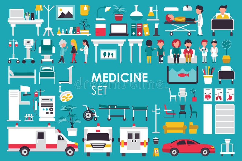 Medizinische große Sammlung im flachen Designhintergrundkonzept Infographic-Elementsatz mit Krankenhauspersonaldoktor und -kranke vektor abbildung