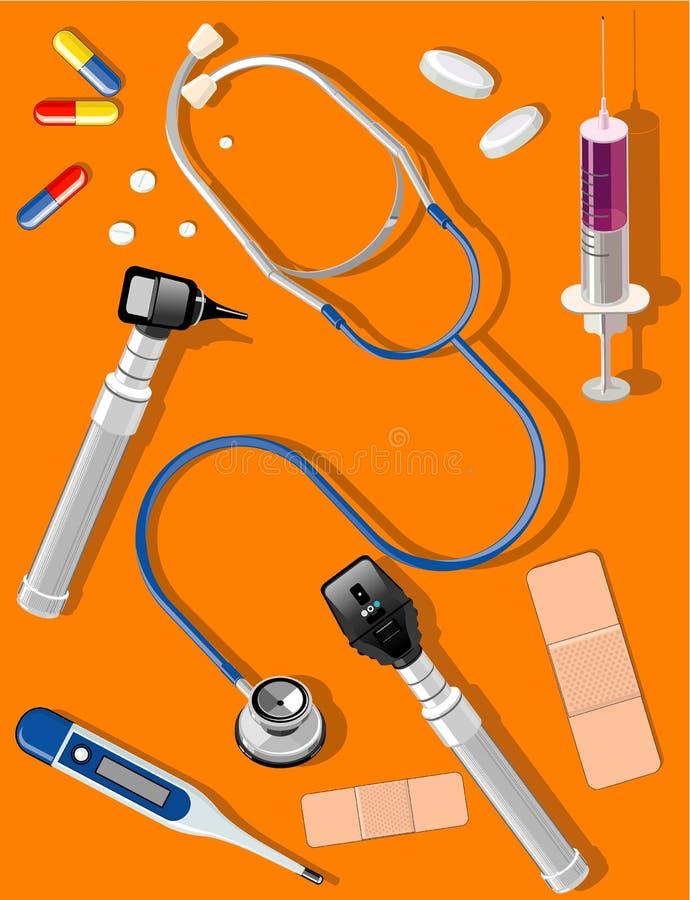 Medizinische Hilfsmittel und Zubehör lizenzfreie abbildung