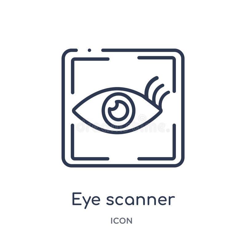 Medizinische Ikone des linearen Augenscanners von der medizinischen Entwurfssammlung Dünne Linie medizinische Ikone des Augenscan stock abbildung