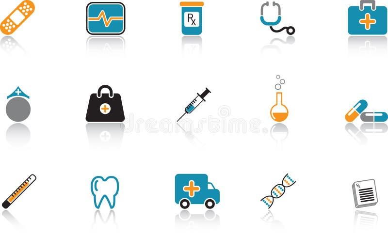 Medizinische Ikone eingestellt - Blau stock abbildung