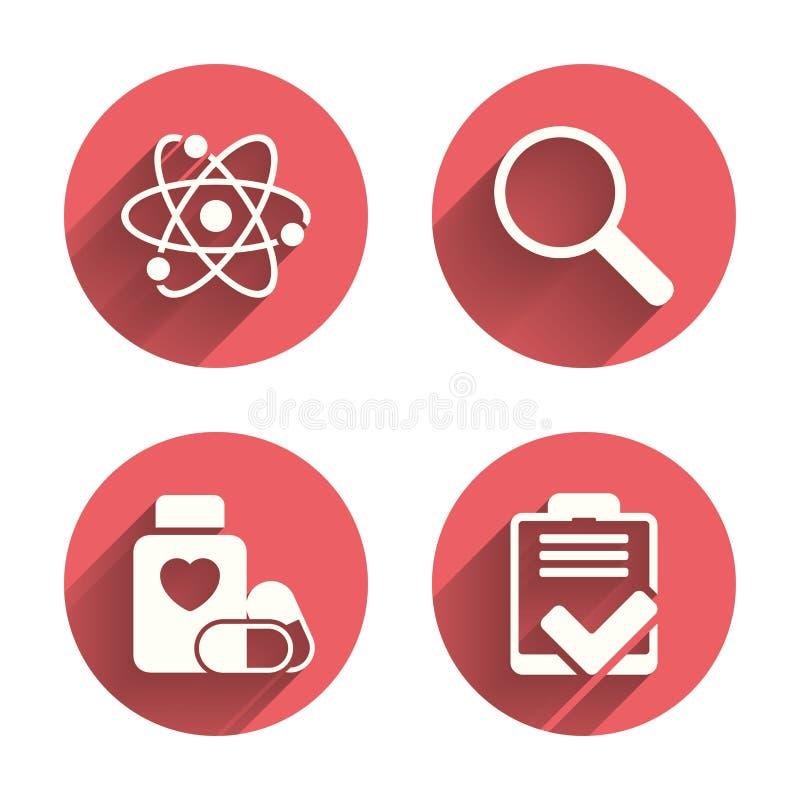 Medizinische Ikonen Atom, Vergrößerungsglasglas, Checkliste lizenzfreie abbildung