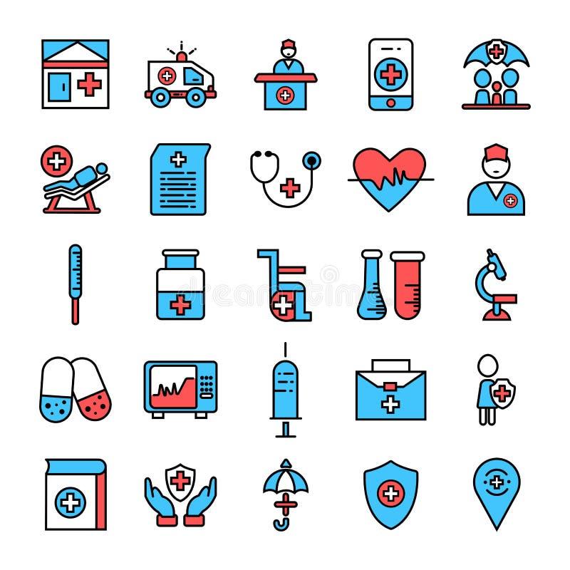 medizinische Ikonen der ärztlichen Bemühung Ikonensatz Vektors für Gesundheitswesenservice stock abbildung