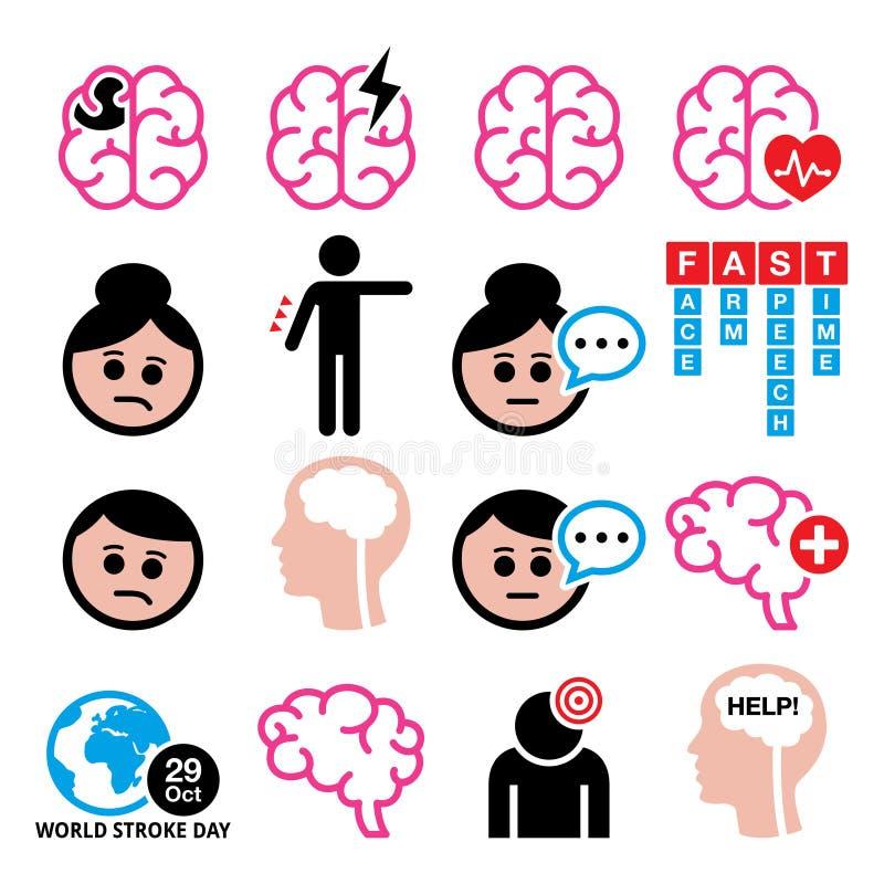 Medizinische Ikonen der Gehirnanschlag-Gesundheit - Gehirnverletzung, Hirnschadenkonzept lizenzfreie abbildung