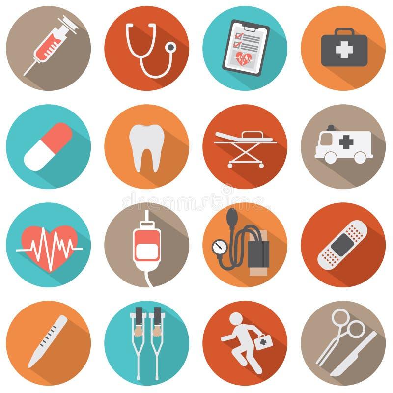 Medizinische Ikonen des flachen Designs lizenzfreie abbildung