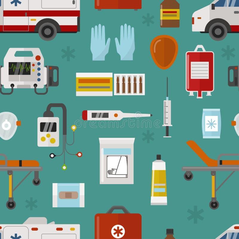 Medizinische Ikonen stellten nahtloses Muster der Sorgfaltkrankenwagennotkrankenhausvektor-Illustration ein stock abbildung