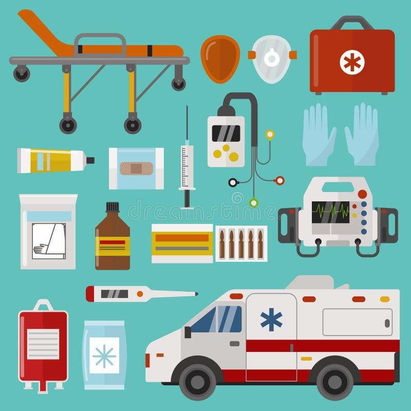 Medizinische Ikonen stellten Sorgfaltkrankenwagennotkrankenhaus-Vektorillustration ein stock abbildung