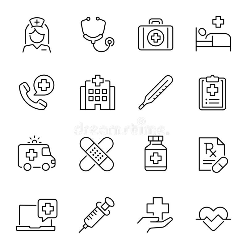 Medizinische Industrie, Medizin, Linear Vektor-Icons lizenzfreie abbildung