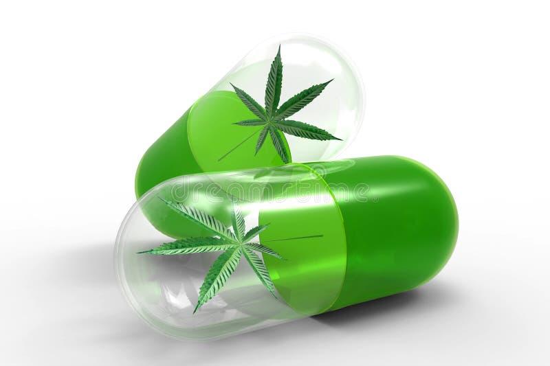 Medizinische Kapseln mit Hanf treiben, Alternativmedizinkonzept Blätter lizenzfreie abbildung