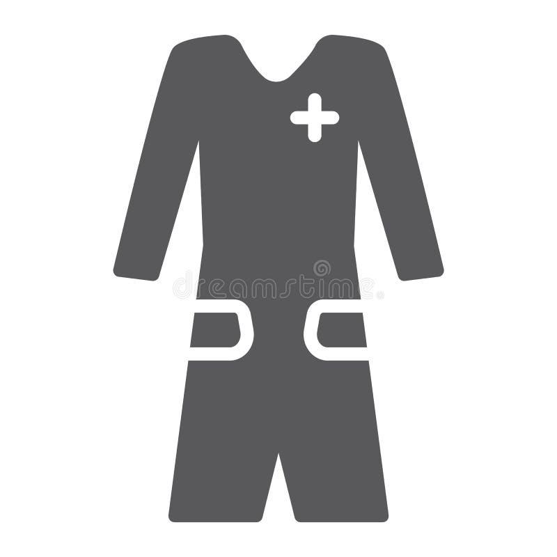 Medizinische Kleidglyphikone, Kleidung und Medizin, medizinisches Robenzeichen, Vektorgrafik, ein festes Muster auf einem weißen  vektor abbildung