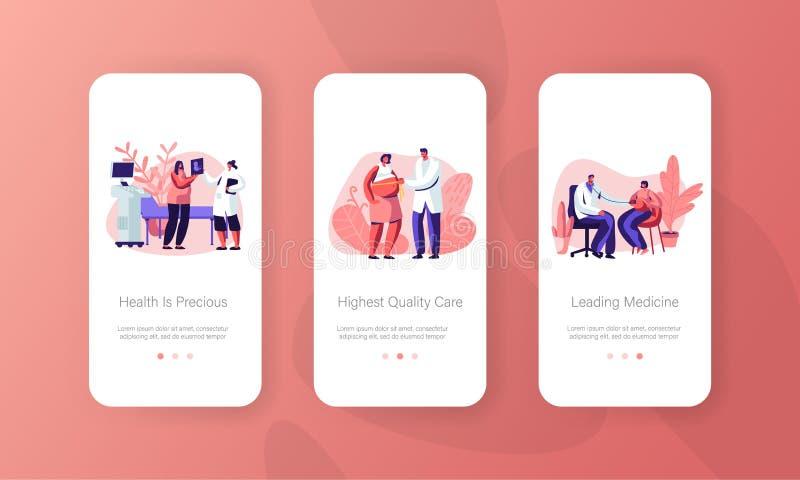 Medizinische Kontrolle, gesunde Schwangerschaft bewegliche App-Seite an Bord des Schirm-Satzes, schwangere Frau an Doktor Appoint lizenzfreie abbildung