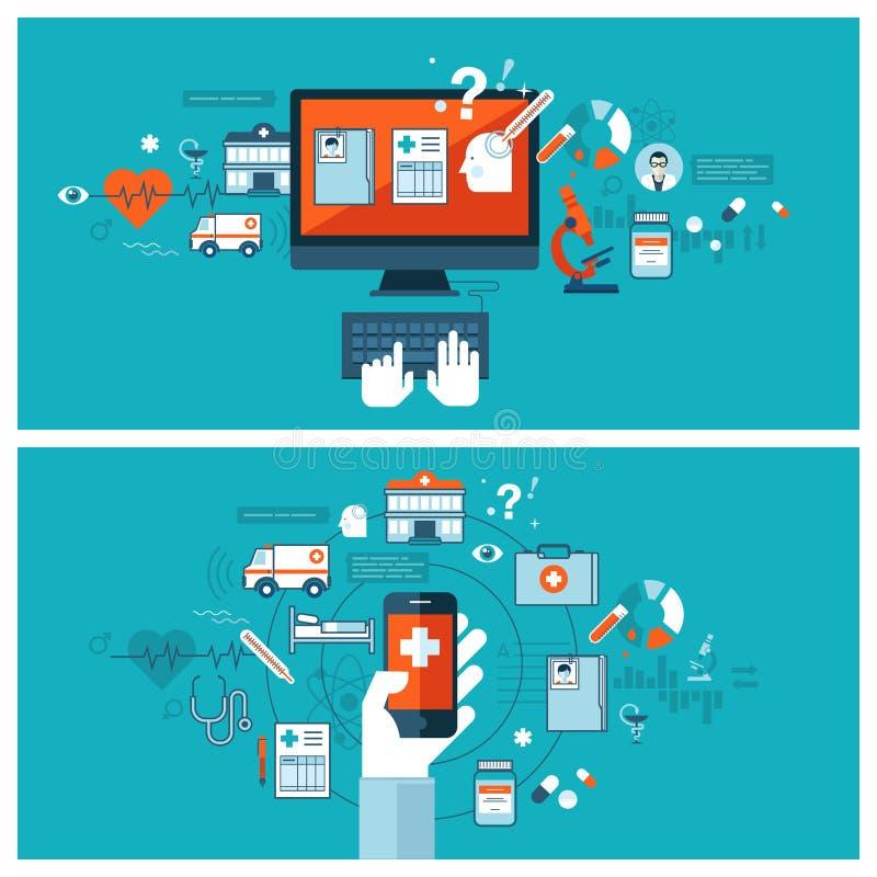 Medizinische on-line-Diagnose und Behandlung stock abbildung