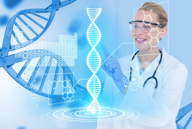 Medizinische Modelle, die Gläser und weißen Mantel gegen DNA-Grafikhintergrund tragen lizenzfreie stockfotos