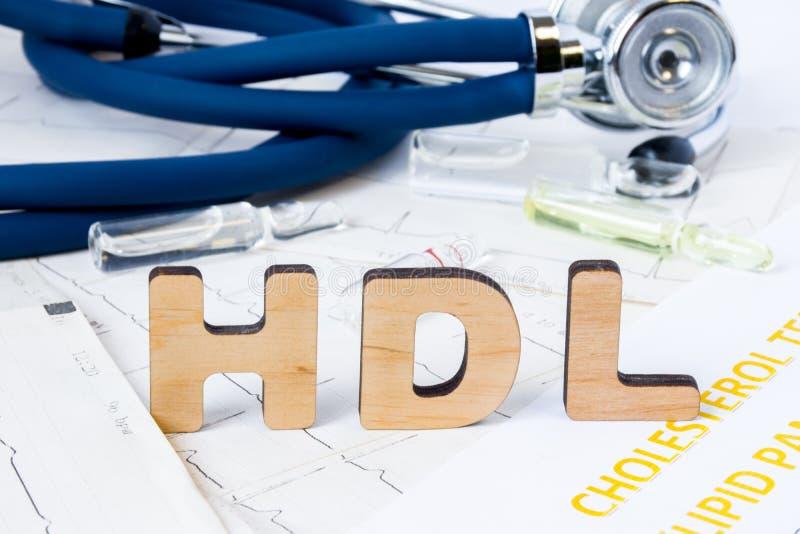 Medizinische oder klinische Laborversuche Akronym HDL oder Abkürzung des High-Density-Lipoproteins, Art des Blutcholesterins, wis lizenzfreie stockbilder