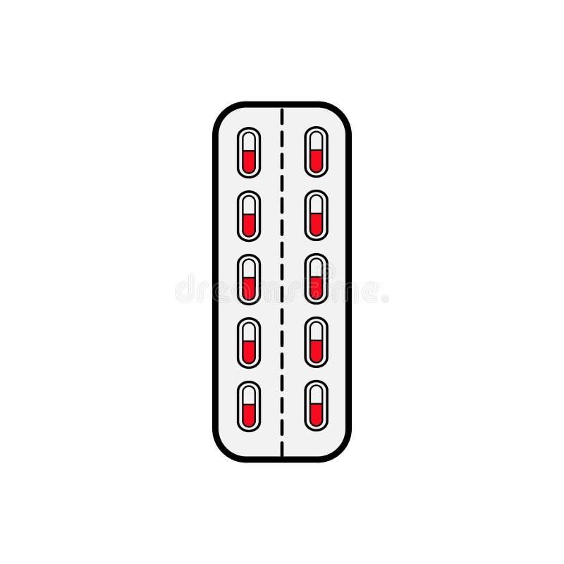 Medizinische pharmazeutische Pillenkapseln im Paket, die Platte für die Behandlung von Krankheiten, eine einfache Ikone auf einem vektor abbildung