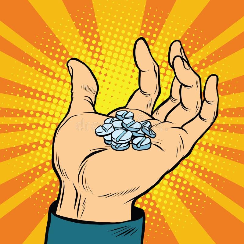 Medizinische Pillen in der Hand vektor abbildung