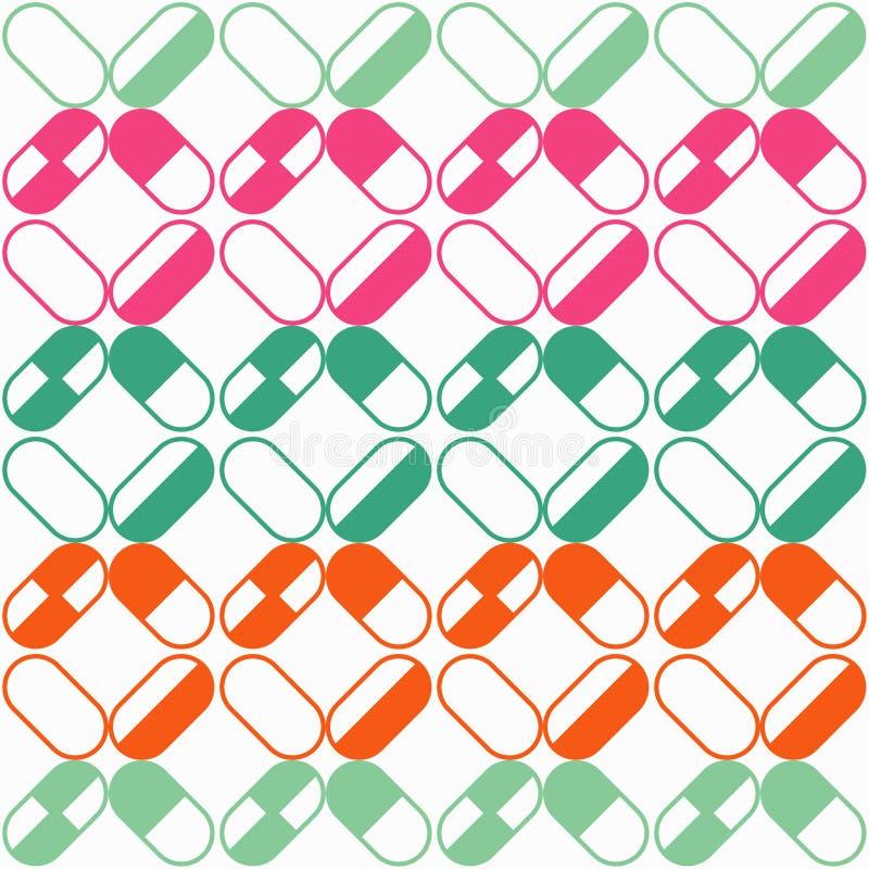 Medizinische Pillen und nahtloses Muster der Kapseln vektor abbildung