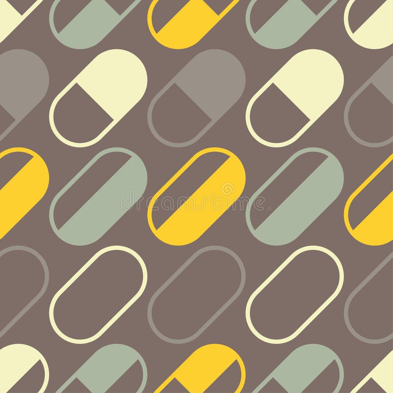 Medizinische Pillen und nahtloses Muster der Kapseln lizenzfreie abbildung