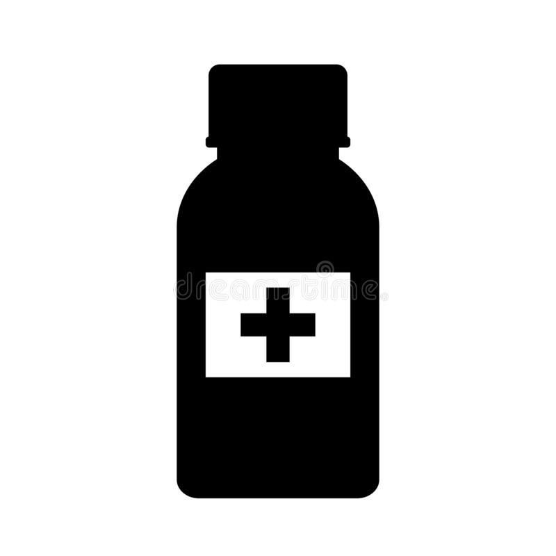 Medizinische Pillenflaschen-Vektorikone vektor abbildung