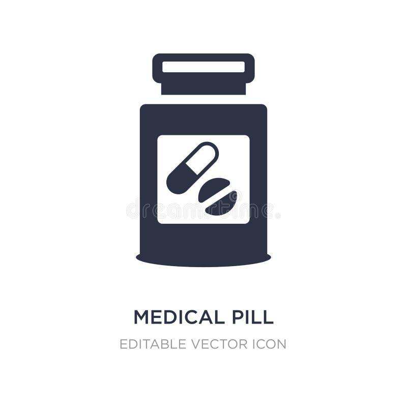 medizinische Pillenikone auf weißem Hintergrund Einfache Elementillustration vom medizinischen Konzept lizenzfreie abbildung