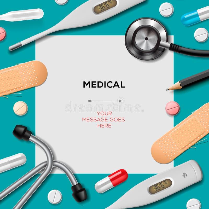 Medizinische Schablone mit Medizinausrüstung lizenzfreie abbildung