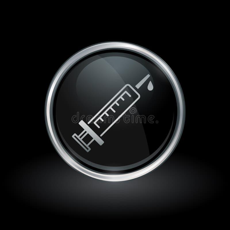 Medizinische Spritzenikone innerhalb des runden Silbers und des schwarzen Emblems vektor abbildung