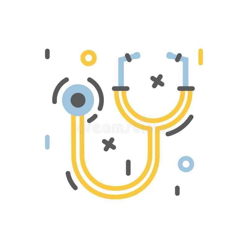 Medizinische Stethoskop- oder phonendoscopeikone für Gesundheitswesen lizenzfreie abbildung