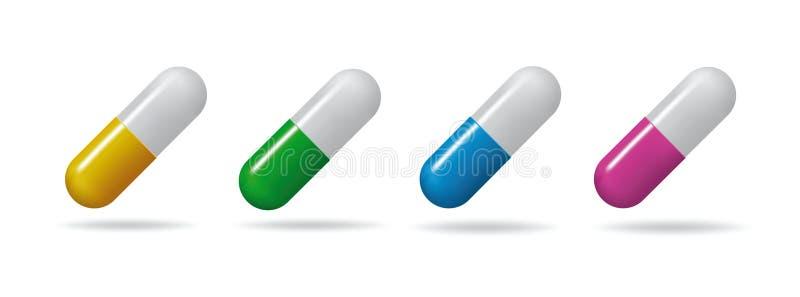 Medizinische Tabletten Stellen Sie Tabletten von verschiedenen Farben ein Getrennte Nachrichten auf weißem Hintergrund stock abbildung
