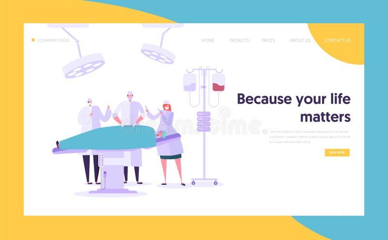 Medizinische Team Performing Surgery Operation Concept-Landungs-Seite Doktor Assistant und Krankenschwester Character Operate Pat lizenzfreie abbildung
